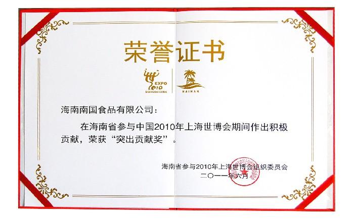 参与2010年上海世博会突出贡献奖