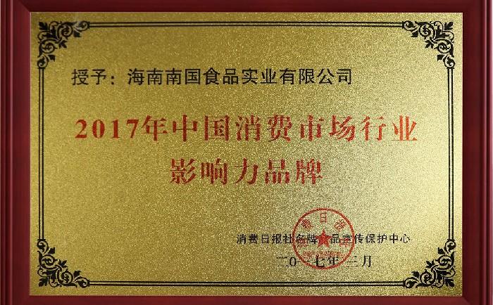 2017中国消费市场行业影响力品牌