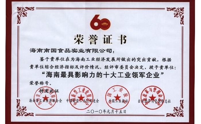 海南最具影响力的十大工业领军企业